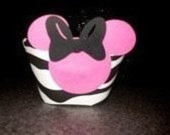 Minnie Mouse zebra Cupcake Wrappers- Set of 24