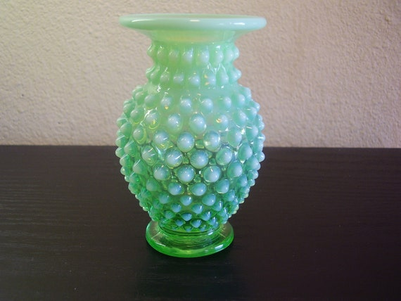 Fenton Glass Pre Logo Green Opalescent Hobnail Small Bud Vase