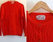 Vintage 1960's red cable-knit cardigan / pearl button fisherman sweater