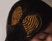one of a kind harry potter hair bow -- hand knit striped hufflepuff hair clip barrette