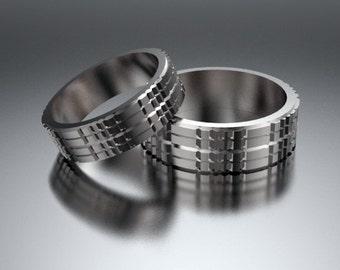 Wedding Band,Wedding Ring,His and Hers 14K Matching  Wedding Band Set,Gold Wedding Band,Unique Wedding Rings,Custom,Set,Bride