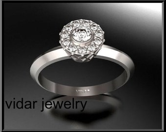 Engagement Ring,Unique Engagement Ring,Diamond Engagement Ring,Halo Engagement Ring,Designed 14K  Diamond Engagement Ring.