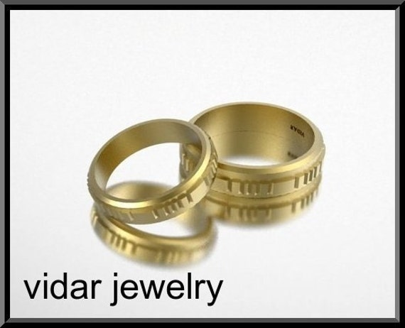 His and Hers 14K Matching  Wedding Bands Set,Unique Matching Band Set,His And Her Ring Set,Matching Gold ring set