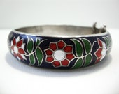 Vintage Folk Floral Cloisonne Enamel Bracelet With Hearts In Red, White, Blue and Green