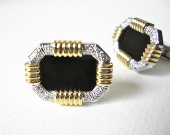 14K White And Yellow Gold Cufflinks With Diamonds And Polished Black Stone Center