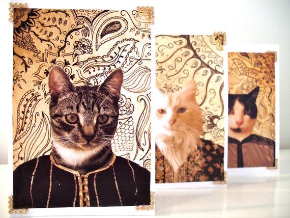 3 Greetings cards - Asian Indian Cat