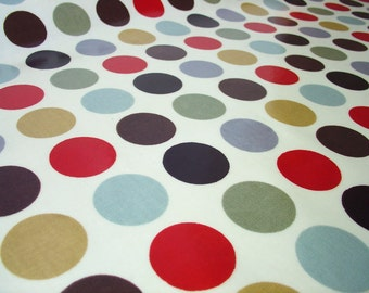 "0.5 yard Oilcloth - Laminated waterproof Cotton dotty tablecloth in cinnamon brown red dots with grey 52"" wide by dotty spots fabrics"