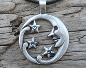 Pewter Moon Face and Stars Lunar Celestial Pagan Pendant with Swarovski Crystal Aquamarine Blue MARCH Birthstone (39E)