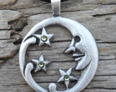 Pewter Moon Face and Stars Lunar Celestial Pagan Pendant with Swarovski Crystal Green Peridot AUGUST Birthstone (39E)