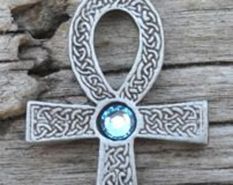 Pewter Ankh Egyptian Cross with Celtic Knots Pendant with Swarovski Crystal Aquamarine Blue MARCH Birthstone (31G)