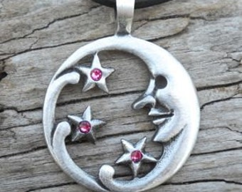 Pewter Moon Face and Stars Lunar Celestial Pagan Pendant with Swarovski Crystal Pink Tourmaline OCTOBER Birthstone (39E)