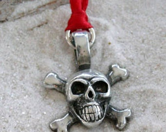 Pewter Skull and Crossbones Pirate Biker Gothic Christmas Ornament and Holiday Decoration (21G)