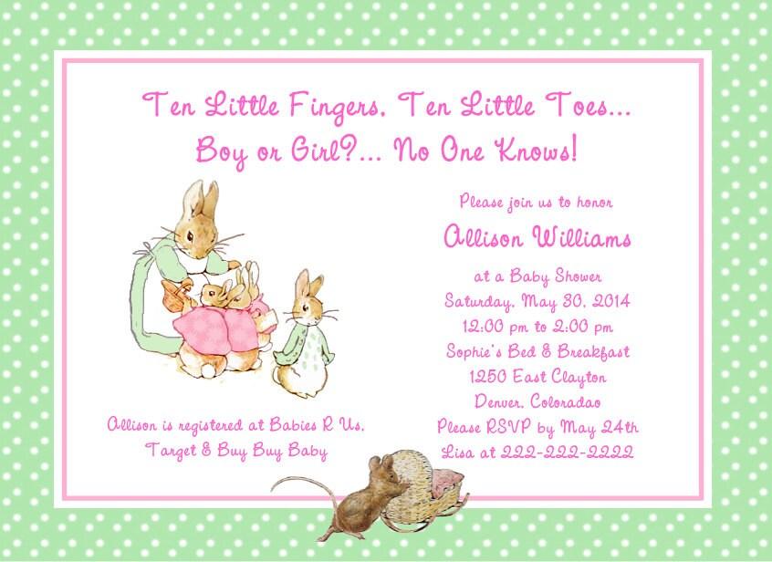 beatrix potter peter rabbit polka dots baby shower invitation, Baby shower invitations