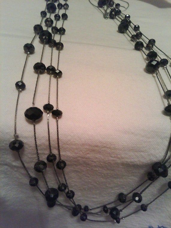 Retro Long Black Multi Faceted Crystals On Silver Beaded Necklace