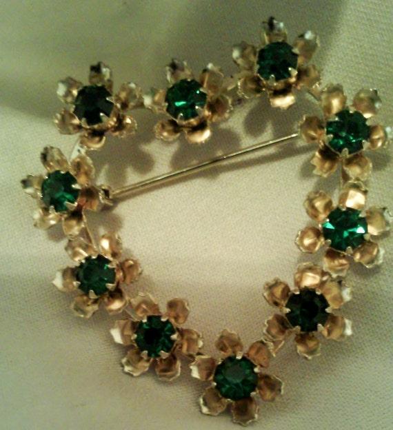 Vintage Treasury Item Heart Flower Green Envy Heart Brooch Pin