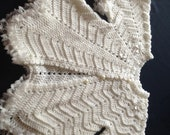White crocheted baby girl coat with lace edging 3-6 months
