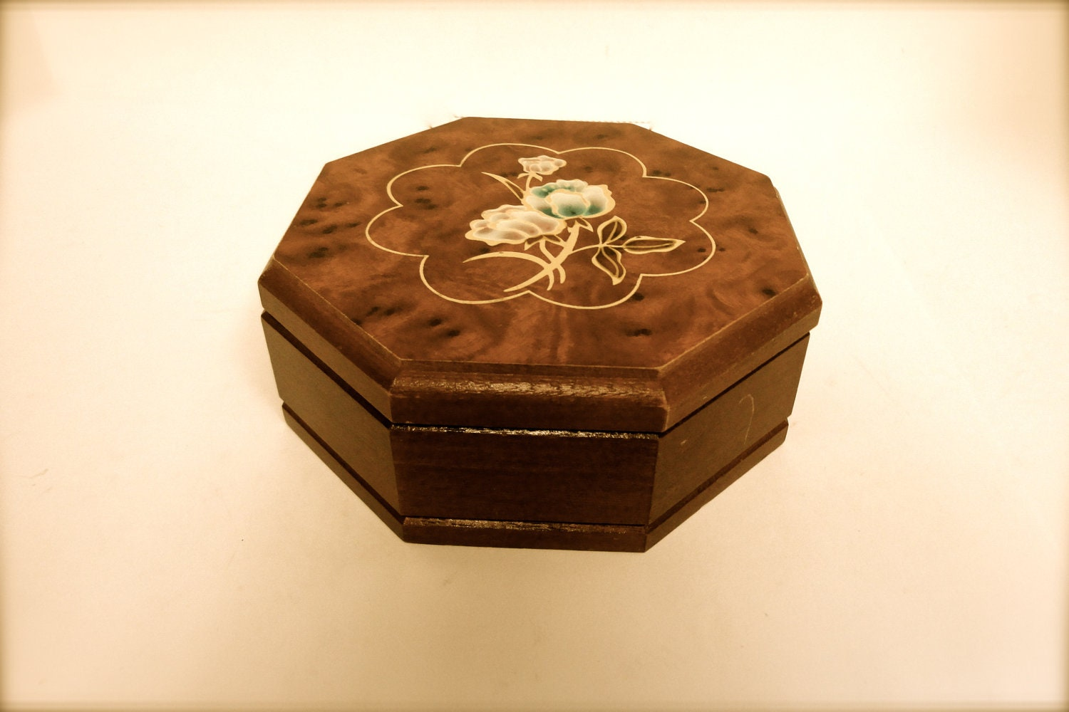vintage jewelry box solid wood small octagon shape