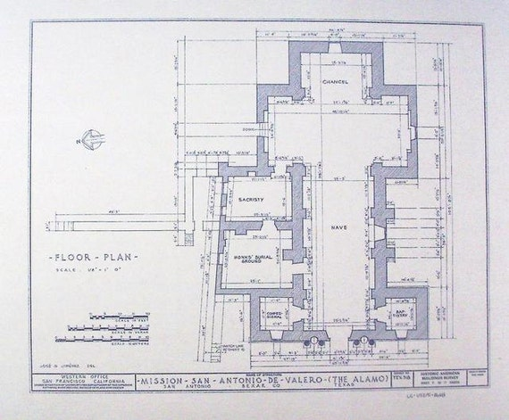 Alamo floor plan blueprint by blueprintplace on etsy for Where to buy blueprint paper