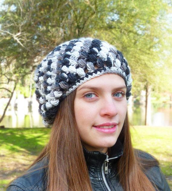 Slouchy beanie hat - BLACK / WHITE / GRAY - chunky puff-stitch - crochet - womens Winter Autumn accessories