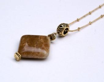Tan Diamond Shaped Stone Pendant