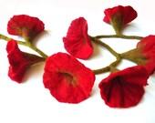 Red Felt  Flowers Garland - Home Decor - Gladiolus - Scarf - Belt