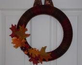 "12"" Oak Leaves & Acorns Yarn Wreath"