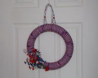"""12"""" Americana Floral Yarn Wreath"""