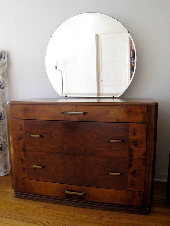 Gorgeous 1940s Streamlined Art Deco Dresser With Mirror