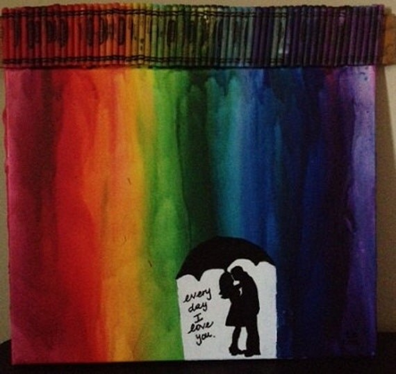 Unavailable listing on etsy for Melted crayon art with quotes