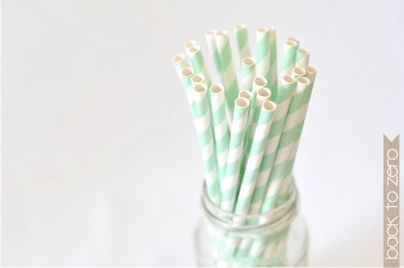 B20 Paper Straw. Striped. Mint Green. White.