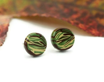 Camouflage Earrings, Camo Military Army Strong Marine Hunter Jungle Hunting Camoflage Combat Soldier Armed Forces Simple Minimalist Jewelry