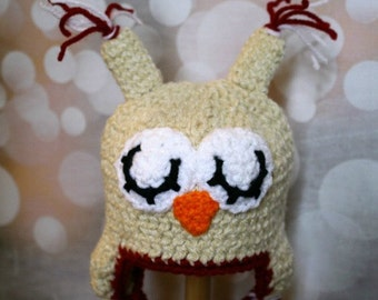0-3 Month Speckled Tan/Red Lined Sleepy Owl Hat -- Ready to Ship