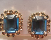 Sapphire Blue Clip On Earrings 1960s - Vintage Glass and Rhinestone Clip On Earrings