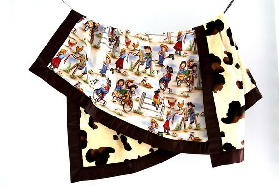 Large Baby/Toddler Blanket, Lil' Cowgirl with Pony Minky and Brown Satin Trim, Ready to Ship