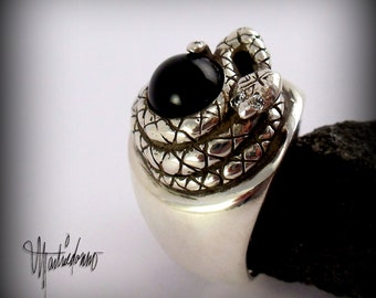 Sterling Silver Rattlesnake Ring with a Black Onyx