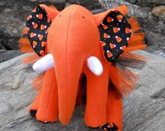 "HALLOWEEN Orange Plush Elephant - ""Boo"""