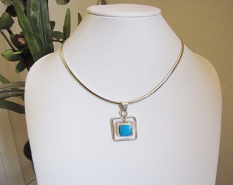 CLEARANCE SALE Modernist Turquoise & Sterling Choker Modernist Necklace Pendant Necklace Omega Necklace Square Necklace Gifts For Her