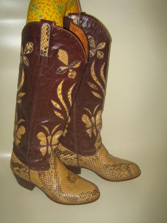 Women's Vintage Snakeskin Cowboy Boots Kenny Rogers Flowers & Butterflies size 7-7.5