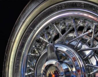 Thunderbird Wheel Photo, Macro HDR photograph, Black and silver chrome, fine photography print, Thunderbird