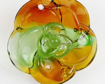 3D Multi-Colored Flower Glass Pendant Bead - 42x11mm