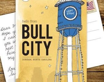Hello from Bull City (Durham, NC) Postcards - Set of 10
