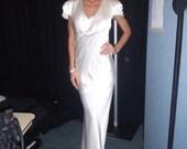 Ivory silk wedding gown 'Pippa', silk chameause  cowl neckline  lace trim long dress silk dress wedding dress evening dress long gown