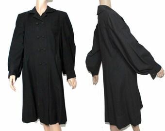 Vintage 1940s Coat Tailored Black Designer 1940s Jacket Mad Man Garden Party Rockabilly Retro Femme Fatale