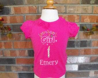 Girls Birthday Tshirt, girls tshirt, birthday tshirt, monogrammed tshirt, embroidered tshirt, appliqued tshirt, monogrammed birthday tshirt