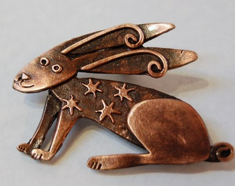 Copper finish Hare Brooch