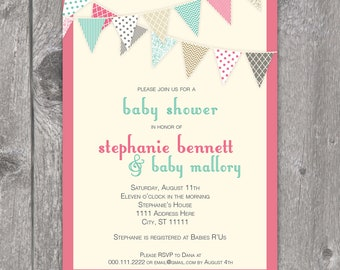Printable Pink & Turquoise Baby Shower Invitation