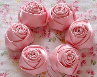 6 Handmade Rolled Ribbon Roses (1-1/4 inches) in Rose Pink MY-014 -020 Ready To Ship