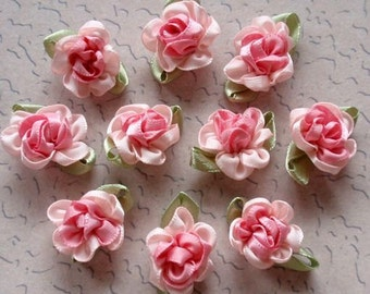 10 Handmade Ribbon Flowers With Leaves (1 inch) In Pink, Lt PInk MY- 035 - 02 Ready To Ship