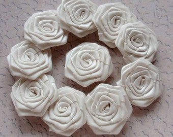 10 Handmade  Ribbon Roses (1-1/4 inches) In Cream  MY-022 - 04 Ready To Ship