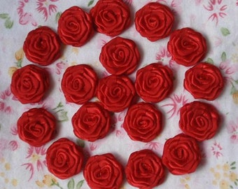 20 Small Handmade Ribbon Roses (3/4 inches) In Red MY-024-40 Ready To Ship